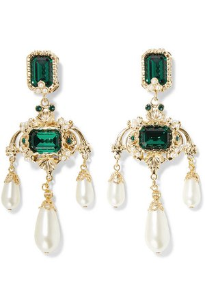 Dolce & Gabbana | Gold-tone, crystal and faux pearl clip earrings | NET-A-PORTER.COM