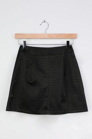 Vegan Leather Skirt - Sexy Crocodile Skirt - Black Mini Skirt - Lulus