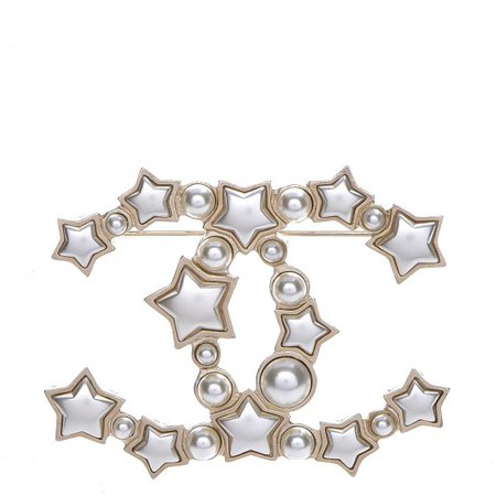 CHANEL Star Resin Pearl Large CC Brooch Gold 215538