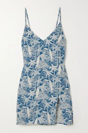 Blue Marlowe printed crepe mini dress   Reformation   NET-A-PORTER