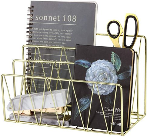 Rumcent Mail Sorter, 3 Slot Wire Letter Holder Rack, Decorative Desk File Organizer for Bill, Postcard, Brochure, Magazine and More, Gold: Amazon.ca: Office Products