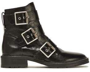 Cannon Buckled Crinkled Glossed-leather Ankle Boots