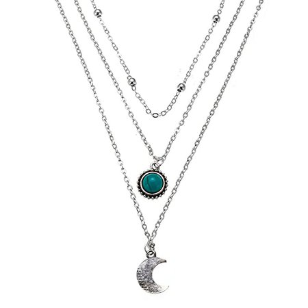 Moon Leaf Turquoise Bohemian Pendant Necklace Fashion Multilayer Crescent Beads Chain Jewelry for Women and Girls (Silver B): Beauty