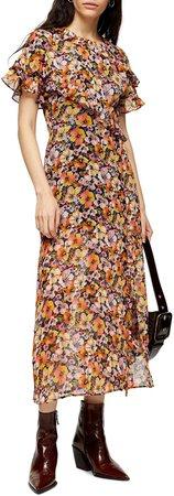 Ruffle Pansy Print Midi Dress