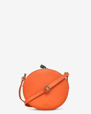 Jack O'Lantern Soft Orange Leather Ladies Cross Body Bag By Yoshi