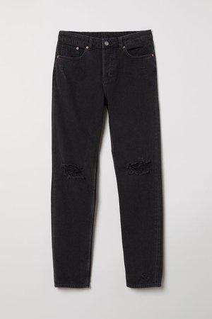 Boyfriend Low Ripped Jeans - Black denim - | H&M US