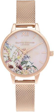 Enchanted Garden Mesh Strap Watch, 34mm