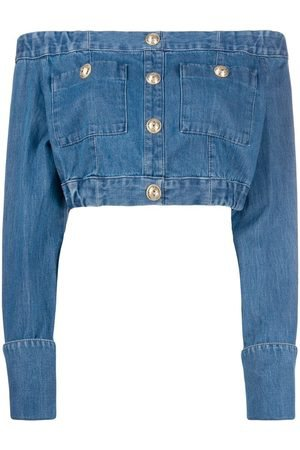 Balmain Off-the-shoulder buttoned cropped top