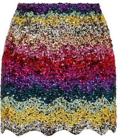 Scalloped Sequined Cotton Mini Skirt - Pink