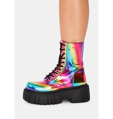 Current Mood Rainbow Holographic Platform Combat Boots - Multi   Dolls Kill