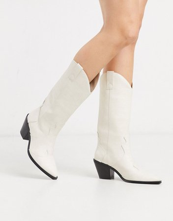 Stradivarius knee high western boots in white | ASOS
