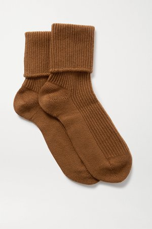 Brown Ribbed cashmere socks | Johnstons of Elgin | NET-A-PORTER