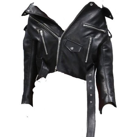 *clipped by @luci-her* Black Leather Off The Shoulder Biker Jacket