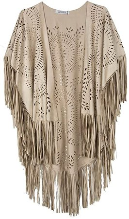 Amazon.com: CHOiES record your inspired fashion Women's Suedette Cut Out Asymmetric Fringed Cape Kimono Blouse with Tassel White: Clothing