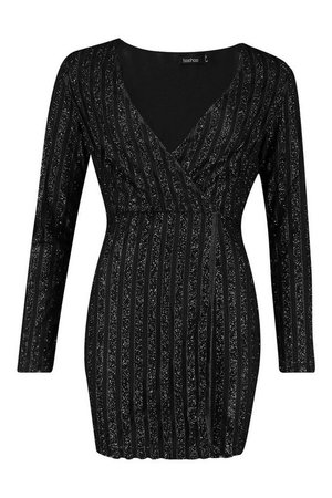 Sparkle Wrap Mini Dress | Boohoo