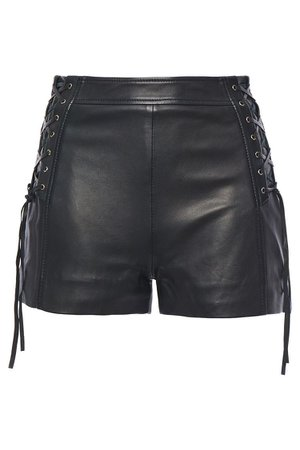 Black Lace-up leather shorts | Sale up to 70% off | THE OUTNET | JUST CAVALLI | THE OUTNET