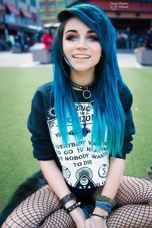 Goth/Emo girl with blue hair