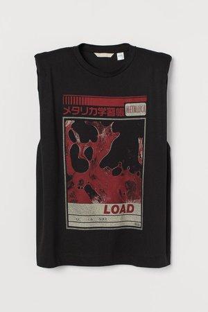 Shoulder-pad T-shirt - Black/Metallica - Ladies | H&M