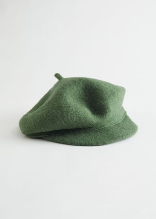 Wool Baker Boy Cap - Green - Caps - & Other Stories