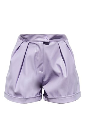 Lilac Faux Leather Pleat Detail Shorts   PrettyLittleThing USA