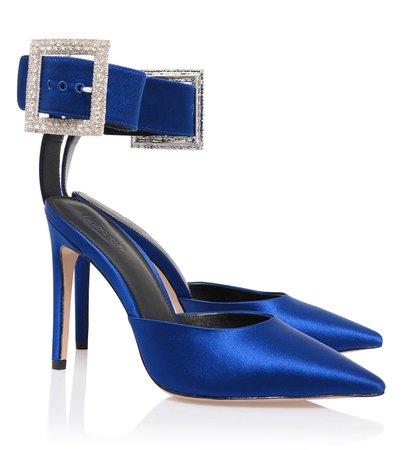 Shoes : 'Krista' Cobalt Blue Crystal Buckle Pumps