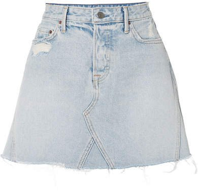 Eva Distressed Denim Mini Skirt - Light denim