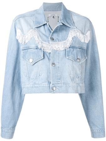 Ganni Sheldon Fringed Cotton Denim Jacket In Blue   ModeSens
