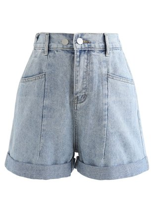 Patched Pockets High-Waist Denim Shorts - Retro, Indie and Unique Fashion