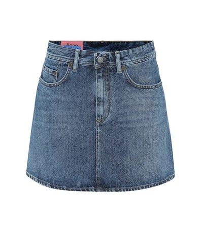 Blå Konst denim miniskirt