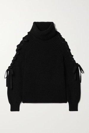 Black Lace-up ribbed wool-blend turtleneck sweater | Alice + Olivia | NET-A-PORTER