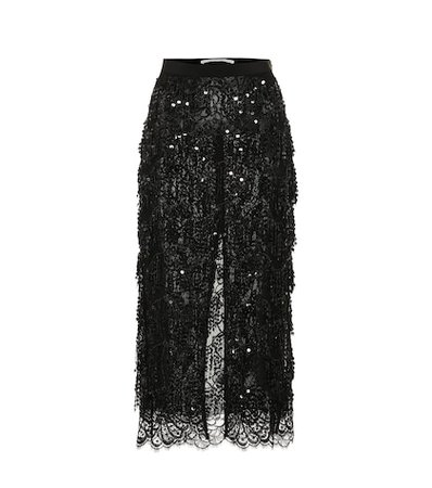 Sequined lace midi skirt