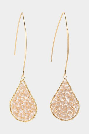 Ami Beaded Teardrop Threader Earrings | francesca's
