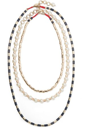 Roxanne Assoulin | Suit Up set of three gold-tone, enamel and faux pearl necklaces | NET-A-PORTER.COM