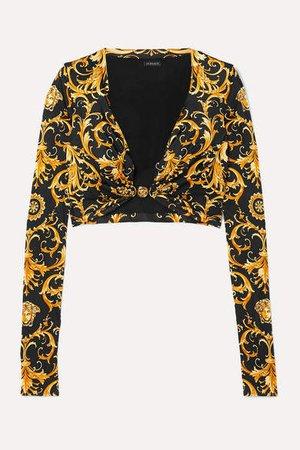 Cropped Embellished Printed Satin-jersey Top - Black