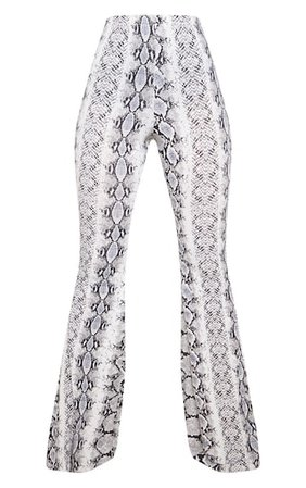 Black Snake Print Flare Leg Trouser | PrettyLittleThing