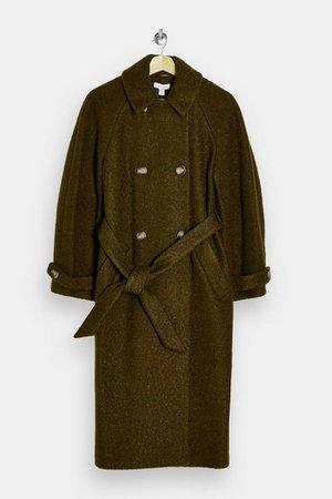 Khaki Boucle Trench Coat | Topshop