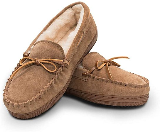 Amazon.com | Women's Genuine Suede Leather Faux Fur Lined Moccasin Slippers Shoes, Classic Flat Moccasins for Women (11B(M) US, Tan) | Slippers