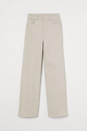 Wide-leg Twill Pants - Brown