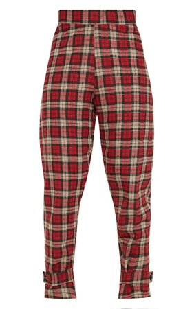Red Check Peg Leg Trouser - Pants - Clothing | PrettyLittleThing USA