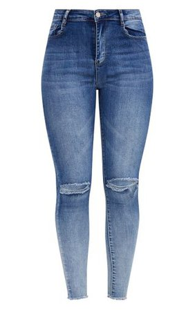 Knee Rip High Waisted Dark Wash Skinny Jean | PrettyLittleThing