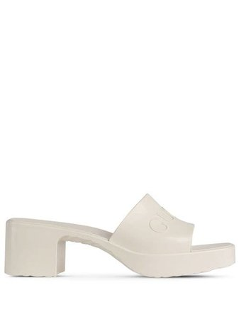 Shop white Gucci logo embossed sandals with Express Delivery - Farfetch