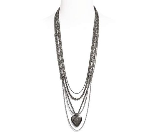 Long Necklace, metal, ruthenium & silver - CHANEL