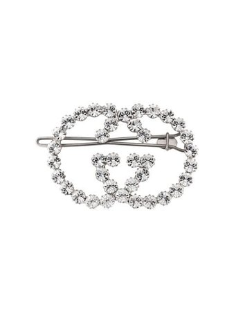 Metallic Gucci Gg Crystal Hair Clip | Farfetch.com