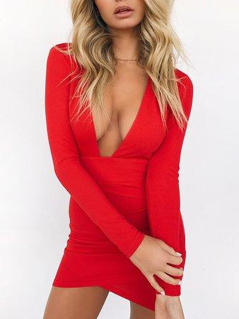 Deep V Open Back Crisscross Hem Bodycon Dress Online. Discover hottest trend fashion at chicme.com