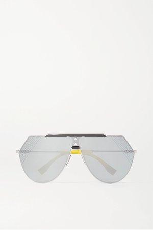 Silver Aviator-style silver-tone and acetate mirrored sunglasses | Fendi | NET-A-PORTER