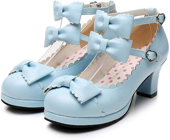 Amazon.com   Women's Double Bowtie Straps High Heel Pumps Sweet Princess Girls Lolita Cosplay Shoes   Pumps