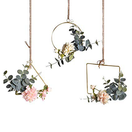Amazon.com: Pauwer Floral Hoop Wreath Set of 3 Artificial Peony Flower and Eucalyptus Vine Wreath for Wedding Party Backdrop Decor: Home & Kitchen