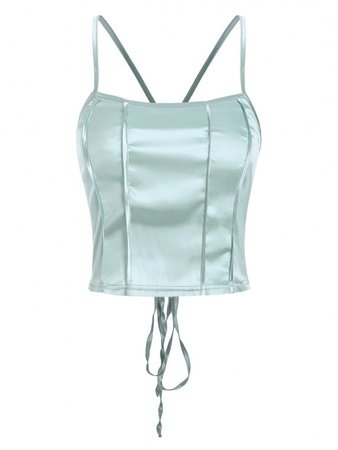 [25% OFF] 2021 Silky Lace Up Criss Cross Back Cami Top In LIGHT GREEN | ZAFUL