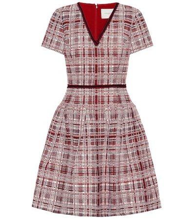 Plaid flared knit dress