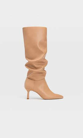 High heel slouched boots - Women's Just in | Stradivarius United States cream
